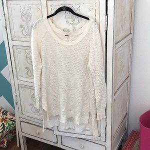 Cream free people tunic sweater